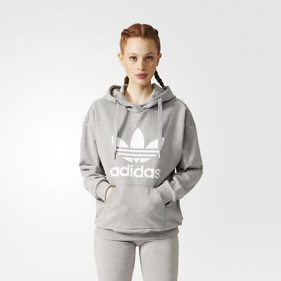 Women's Adidas Originals Trefoil Hoodie Grey/White [Z]BP9486