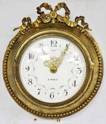 Superb Small Antique French Paul Garnier Bronze Ormolu Electric Dial Wall Clock