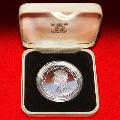 1985 Falkland Island Mt Pleasant Airport 0.925 Silver Proof Commem 50 Pence Coin