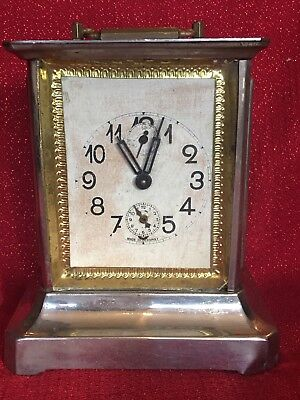 Antique Junghans Type German  Musical Alarm Brass Carriage Clock The Mikado