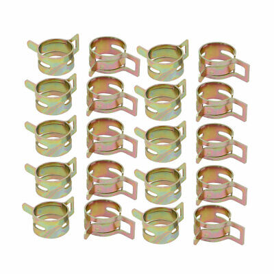 20 Pcs 16mm Spring Band Type Action Fuel Hose Pipe Air Clamp Bronze Tone