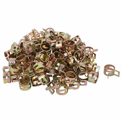 100 Pcs 12mm Spring Band Type Action Fuel Hose Pipe Air Clamp Bronze Tone