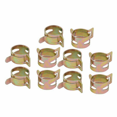 10 Pcs 14mm Spring Band Type Action Fuel Hose Pipe Air Clamp Bronze Tone