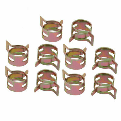 10 Pcs 12mm Spring Band Type Action Fuel Hose Pipe Air Clamp Bronze Tone
