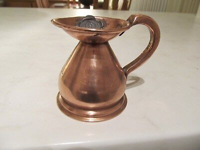 Antique, Haystack, Copper, 1/4 Gill, Measure, With  Lead  Mark,  H R.