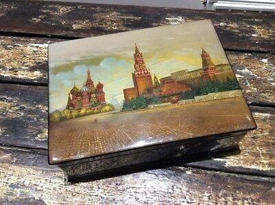 Genuine Large Russian Lacquered Hand Painted Trinket Box. Signed