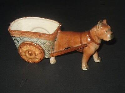 VINTAGE POTTERY BOXER DOG AND CART PLANTER Florart Made in Japan
