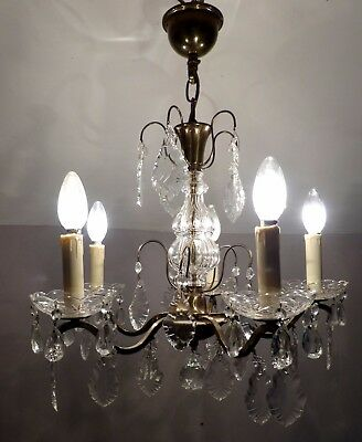 Vintage French 5-Arm Brass & Glass Chandelier C1950's with Lovely Crystals