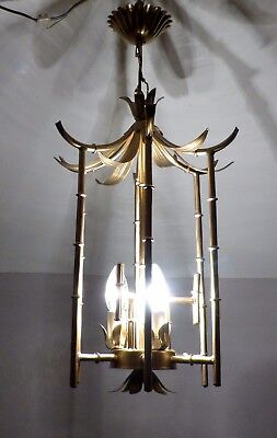 Chinoiserie Gilt Faux Bamboo Tole Ware Chandelier, Hollywood Regency, Rewired
