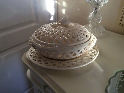Royal  Creamware Gorgeous Lace Basket And Stand