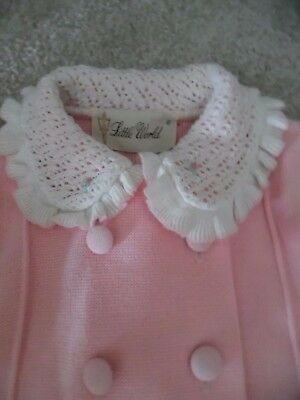Little World Inc Pink Knit Coat  Embroidered Vtg 1950's 60's  NEW! 18 MO Perfec