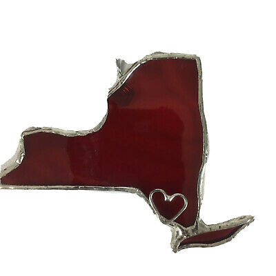 New York Stained Glass Red Ornament or Window Sun Catcher Handmade Signed NY