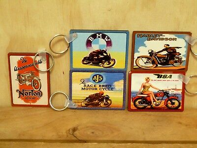 Key Rings - 5 X Vintage Motorcycles - 65Mm X 45Mm - Double Sided