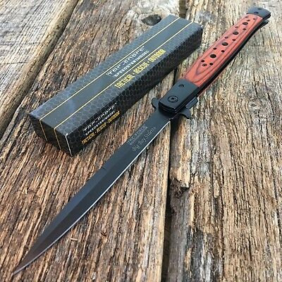"""TAC FORCE 13"""" Extra Large Spring Assisted Open STILETTO WOOD Pocket Knife -F"""