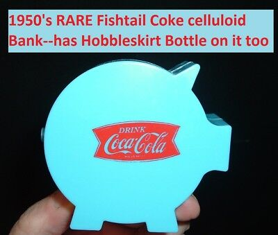 "1950 Coca Cola Soda Pop Coke ""BLUE  Piggy Coin Bank Celluloid Coke Bank Old 50's"