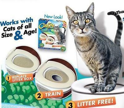 Cat Toilet Seat Training Kit Litter Tray Potty Train Kitty System with Catnip..
