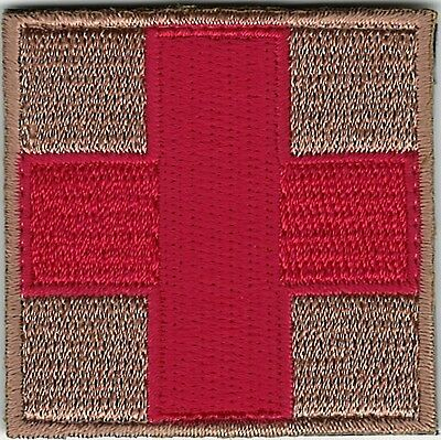 "2"" Red on Tan Medic Red Cross Paramedic Patch VELCRO® BRAND Fastener Compatible"