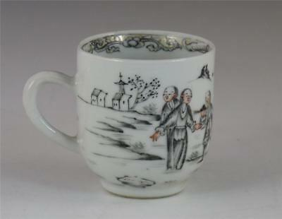 Antique 18Th C Chinese Porcelain European Subject Grisaille Tea Cup