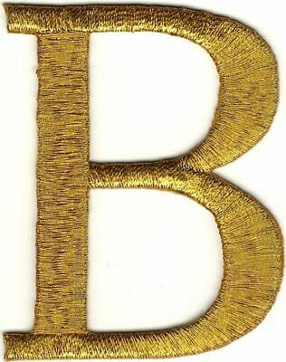 """1 1/2"""" x 2 3/8"""" Metallic Gold Monogram Wire Letter B embroidery patch"""