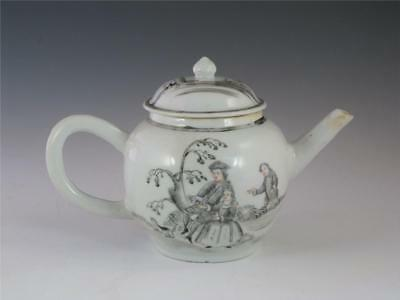 Rare Antique 18Th C Chinese European Subject Grisaille Teapot Figures W/ Dog