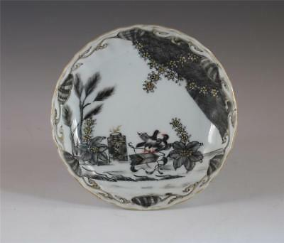 "Rare Antique 18Th C Chinese Porcelain ""valentine"" Pattern Grisaille Saucer"