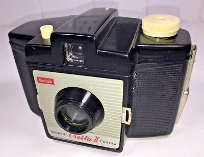A vintage, UK-made Kodak Brownie Cresta II for 120 film from 1950s, with case
