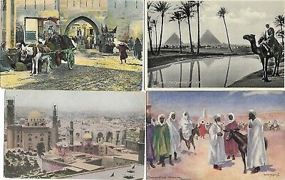 Lot of 11 Old Egyptian Postcards + Stamps Antique Good