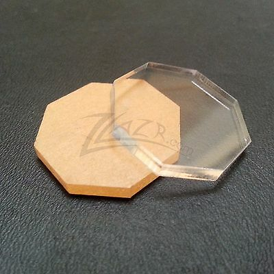 "(50) 1""x1/8"" OCTAGONS Clear Acrylic Disc Plastic Plexiglass Geometric Craft-USA!"