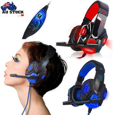 Hot Surround Stereo Gaming Headset Headband Headphone USB 3.5mm Mic LED for PC