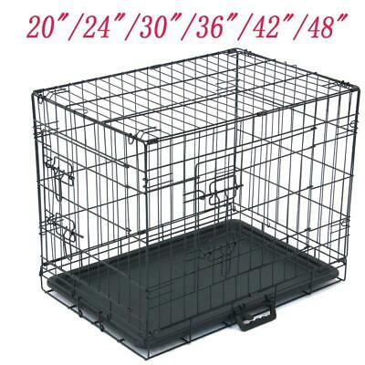"""20""""—48"""" Pet Kennel Dog Folding Steel Crate Animal Playpen Wire Metal Cage Crates"""