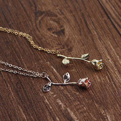 Delicate Rose Flower Leaf Pendant Necklace Beauty Rose Gold Silver Charm Jewely