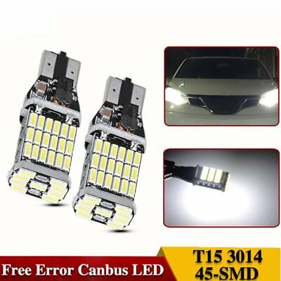 2Pcs Canbus Led W16W LED No Error T15 45SMD 4014 LED Chip LED Light Bulb 12V DC