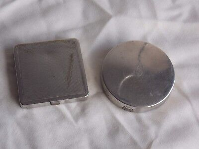 2 X Used Vintage 1930/40S Chrome Rouge Powder Compacts By Coty