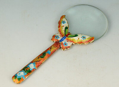 Chinese Old Cloisonne Handmade Carved Butterfly Statue Magnifying Glass