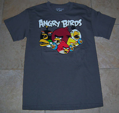 Angry Bird 100% Cotton Sz S M L or XL Gray Tagless T-Shirt New $20 Monthly Deal