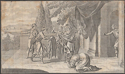 Return of the Prodigal Son - original Engraving 17th Century