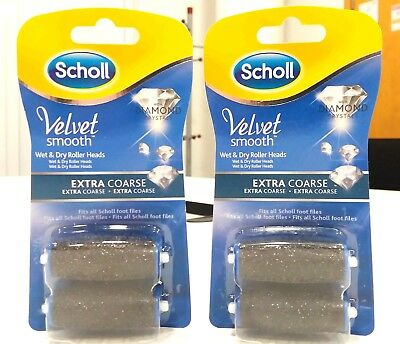 2 x Pack of 2 SCHOLL Velvet Smooth Diamond Wet & Dry Roller Heads (EXTRA COARSE)