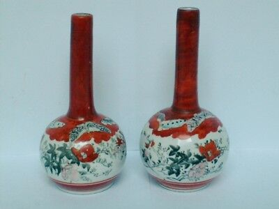 A Signed Pair Of Antique Hand Painted Japanese Kutani Bottle Vases c1890