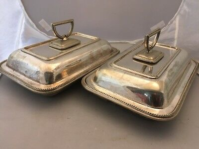 Pair Antique Victorian Silver Plated Entree Dish Tureens With Detachable Handles