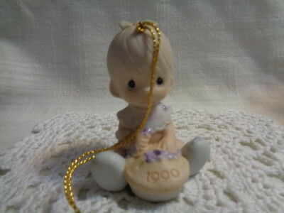 1990 Precious Moments Baby's First Christmas Girl  Ornament Porcelain 523798