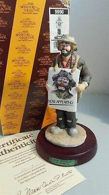 Flambro Emmett Kelly Jr Signature Collection #9990 NOW APPEARING Box COA Signed