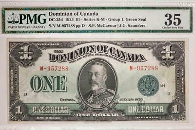 1923 Dominion of Canada $1 PMG VF35 DC-25d Series K-M Green Seal Item#T7224