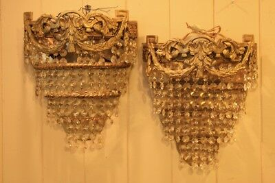 Antique Sconces Pair French Provincial Gilt Tiered w Tiers of Prisms Electric