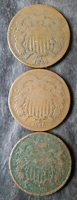 1864, 1865, and 1868 2c Two-Cent Pieces