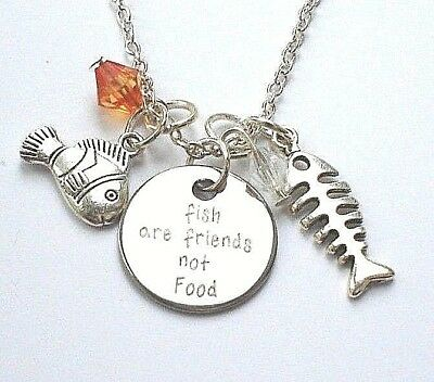 Fish Are Friends Not Food Charms Crystal Pendant Necklace Finding Nemo Fishbone