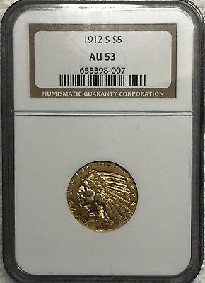 1912 S $5 Gold Indian - Check It Out - Beautiful Rose Color Toning!