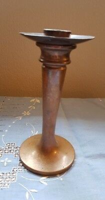 Arts and Crafts 1890 Solid Copper Candle Stick and Collar.