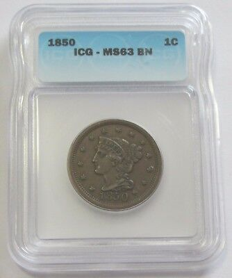 1850 Large Cent Icg Ms 63 Scarce In This Grade Super Eye Appeal