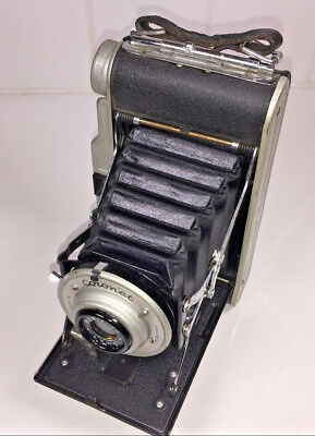 A rare, UK-made Coronet Rapide folding camera for 120 rollfilm, from 1950s