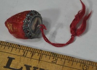 strawberry emery pin cushion sterling silver top tassel silk antique original
